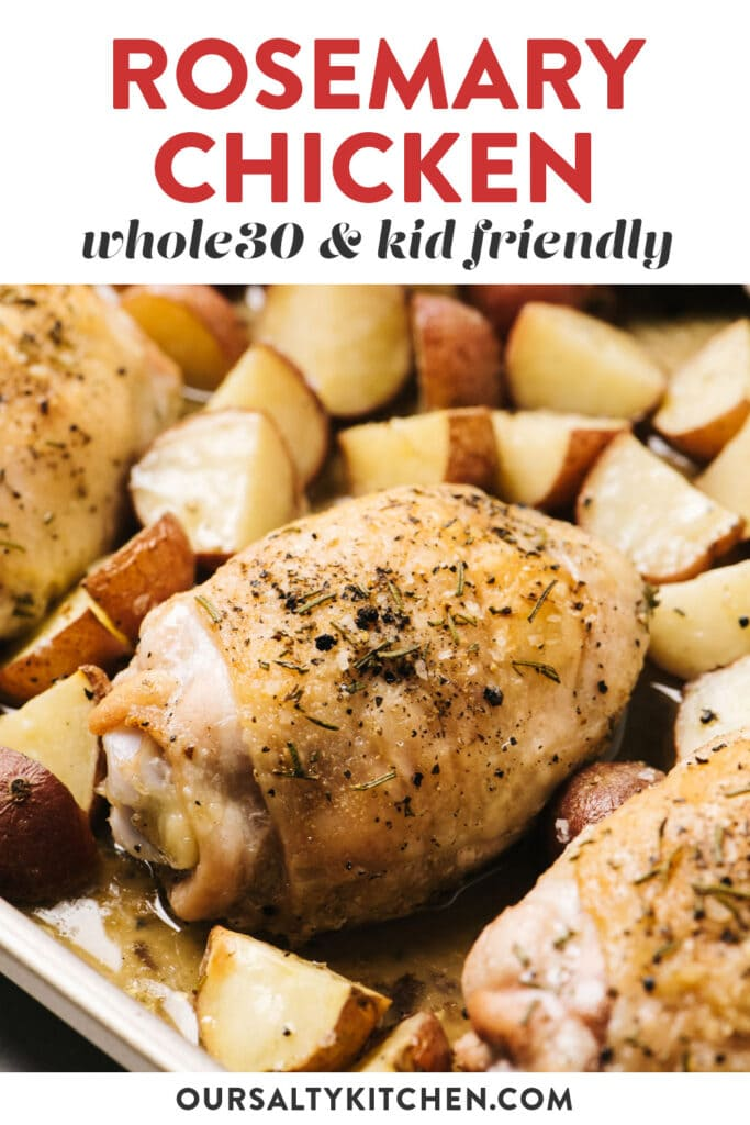 Pinterest image for a whole30 sheet pan chicken and potatoes recipe.