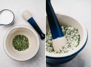 Chopped rosemary and kosher salt in a mortar before and after being ground with a pestle.