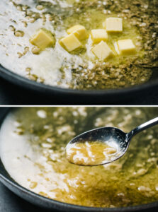 Two images showing how to emulsify butter into scampi sauce.