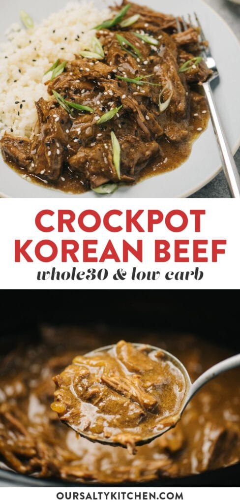 Pinterest collage for a whole30 korean beef recipe made in the crockpot.