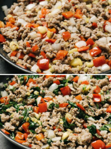 Two images showing how to saute italian sausage with peppers, onions, zucchini pulp and seasoning for making stuffed zucchini.