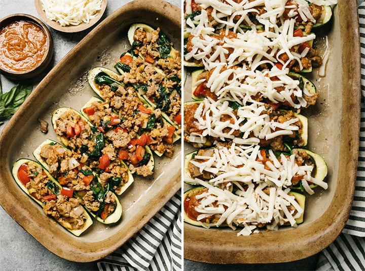 Zucchini stuffed with italian sausage and vegetables in a casserole dish before and after topping with marinara sauce and mozzarella cheese.