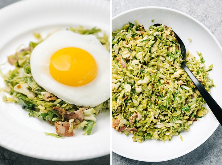 Left - a fried egg over brussels sprouts hash on a white plate; right - brussels sprouts bacon hash in a white serving bowl with a black spoon.