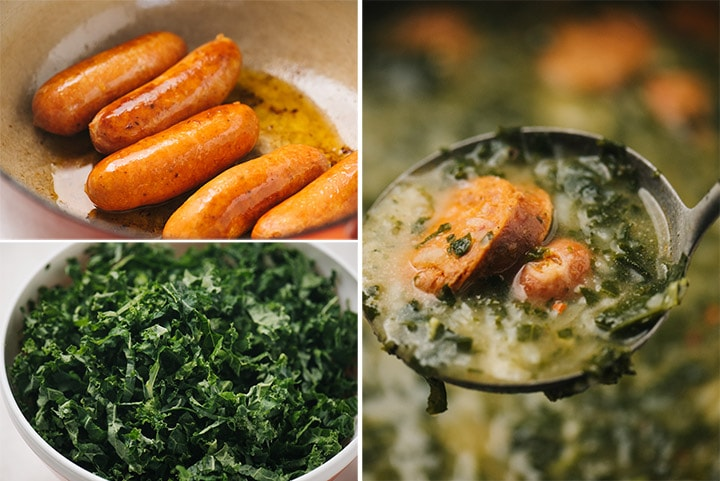 A collage showing key steps in making caldo verde - sautéed chorizo sausage links, thinly shredded kale, and a ladle of soup hovering over a pot.