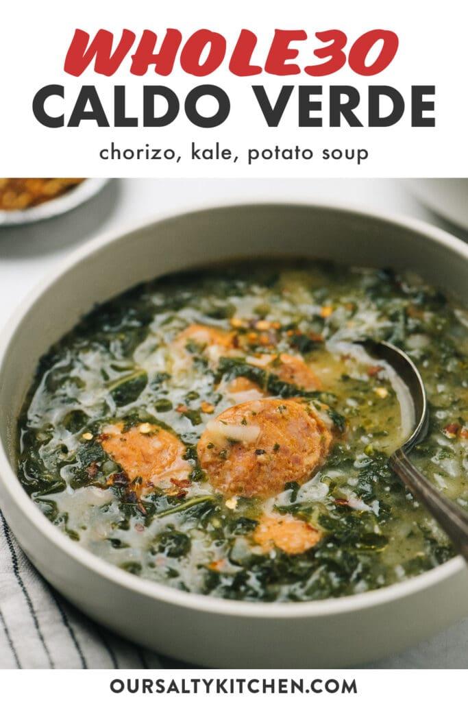Pinterest image for whole30 compliant caldo verde green soup.