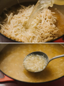 Top - adding broth to sauteed onions and shredded potatoes; bottom - shredded potatoes falling apart after simmer for 15 minutes.
