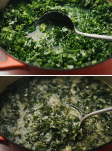 Top - shredded kale added to soup; bottom - shredded kale after simmering in broth for 20 minutes.