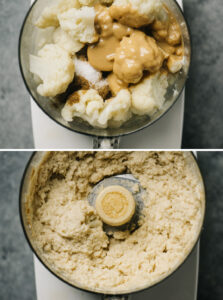 Cauliflower hummus in the bowl of a food processor before and after being processed until smooth.