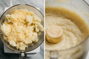 Steamed cauliflower florets with parmesan cheese and cashew milk in a food processor before and after pureeing.