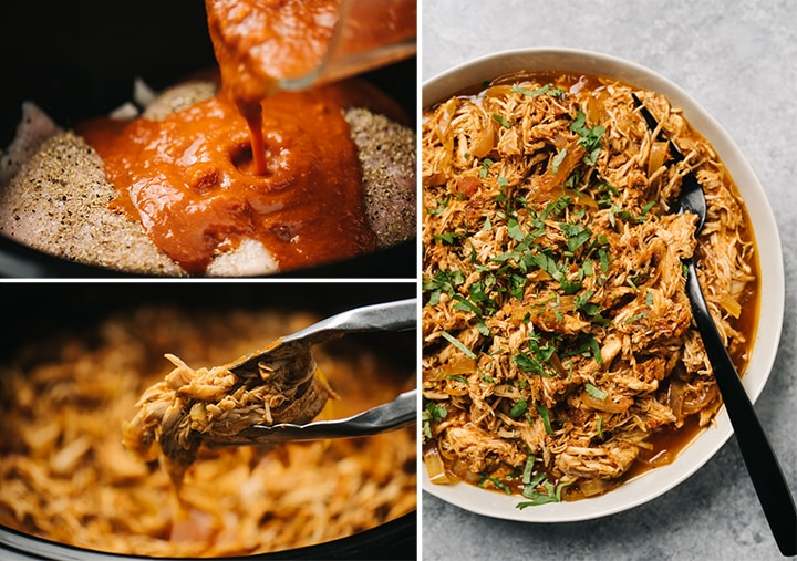 A collage showing how to make chicken tinga in the crockpot.