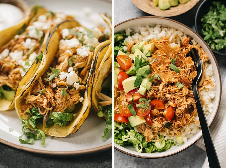 Left - chicken tinga tacos on a cream colored plate; right - healthy chicken tinga bowl with cauliflower rice.