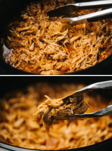 Top - shredded chicken tinga in the bowl of a slow cooker; bottom - tongs holding chicken tinga over a crockpot.