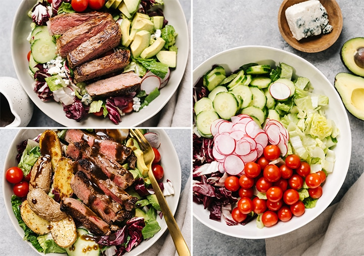 A collage showing the base for steak salad, with two different dietary accommodation platings - keto and whole30.