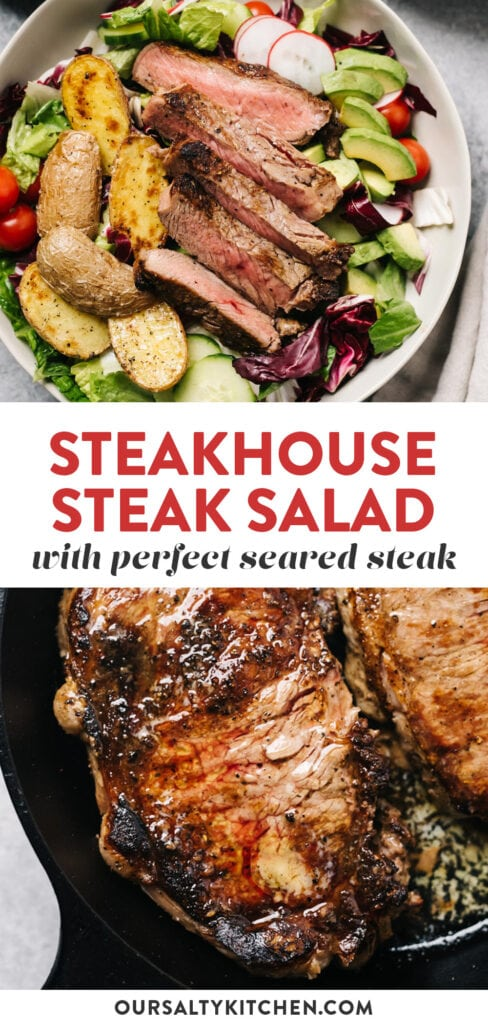 Pinterest collage for a steakhouse style steak salad.