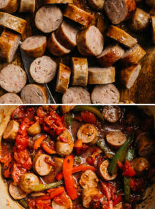 Top - sliced italian sausage on a cutting board; bottom - sausage and peppers before simmering.