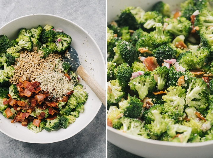 Left - bacon, sunflower seeds, and hemp hearts added to marinated broccoli salad; right, side view of keto broccoli salad in a white serving bowl.