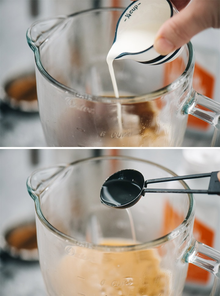 Pour heavy cream into a blender with coffee; pouring MCT oil into a blender to make keto coffee.