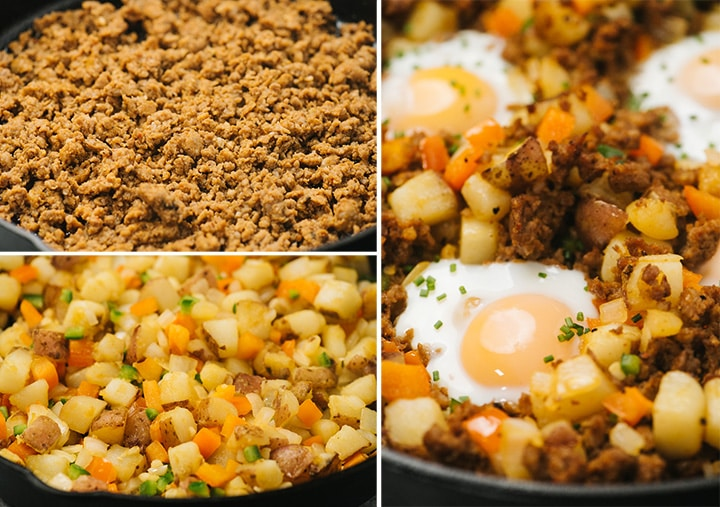 A collage showing how to make mexican inspired potato hash - chorizo in a skillet; potatoes, peppers and onions in a skillet; and the cooked hash with runny eggs.