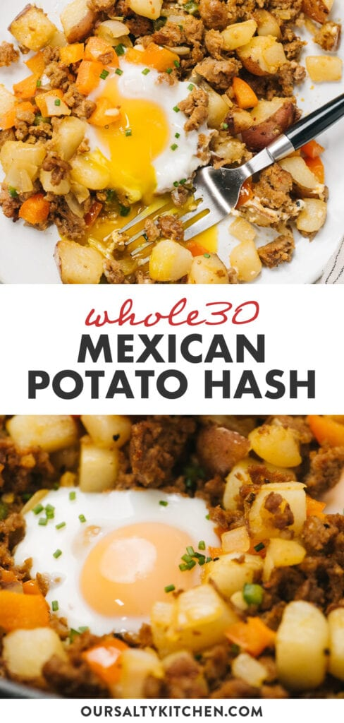 Pinterest collage for a mexican inspired whole30 potato hash.