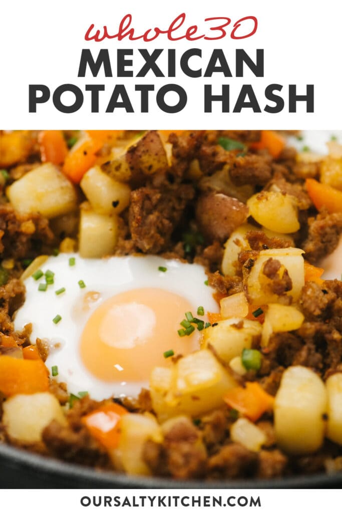 Pinterest image for a mexican inspired whole30 potato hash.