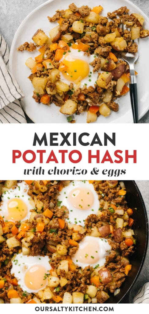 Pinterest collage for a mexican potato hash recipe with chorizo and runny eggs.