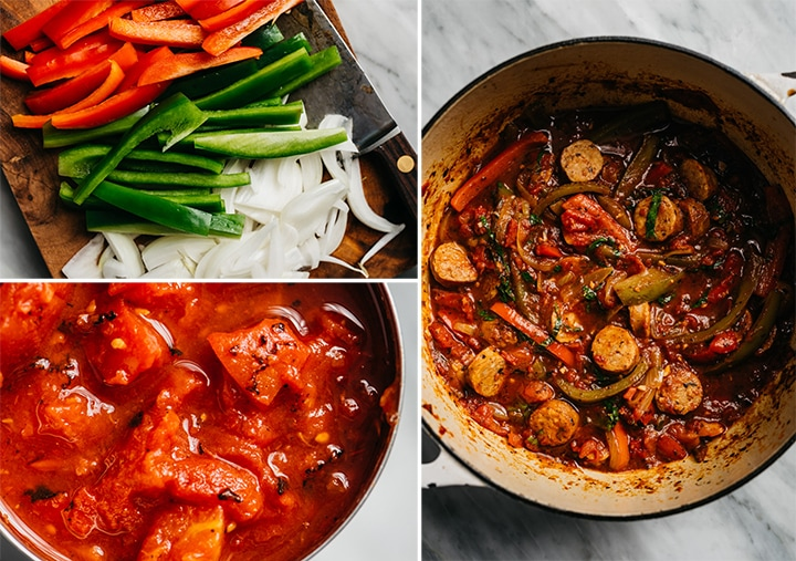 A collage showing how to make healthy sausage and peppers.