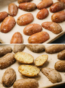 Fingerling potatoes on a baking sheet before and after being roasted in the oven.