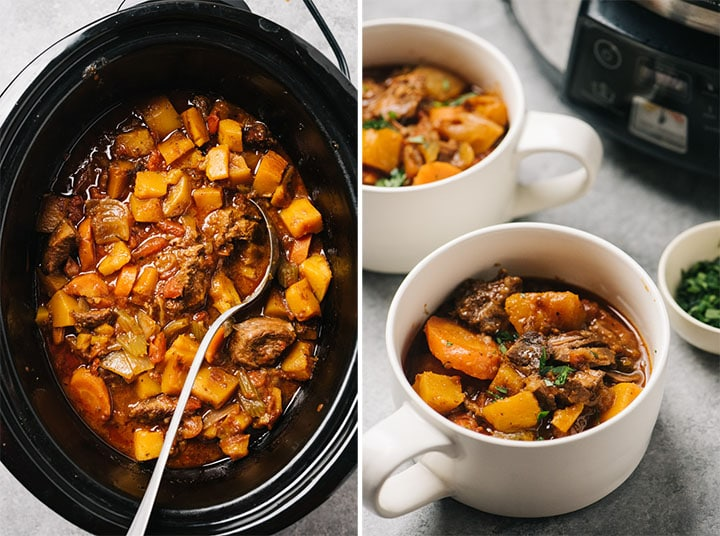 Left - whole30 beef stew in a slow cooker; right - several bowls of whole30 beef stew in front of a crockpot on a concrete surface.