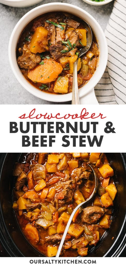 Pinterest collage for slow cooker beef stew with butternut squash.