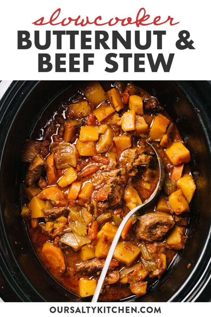 Pinterest image for slow cooker beef stew with butternut squash.