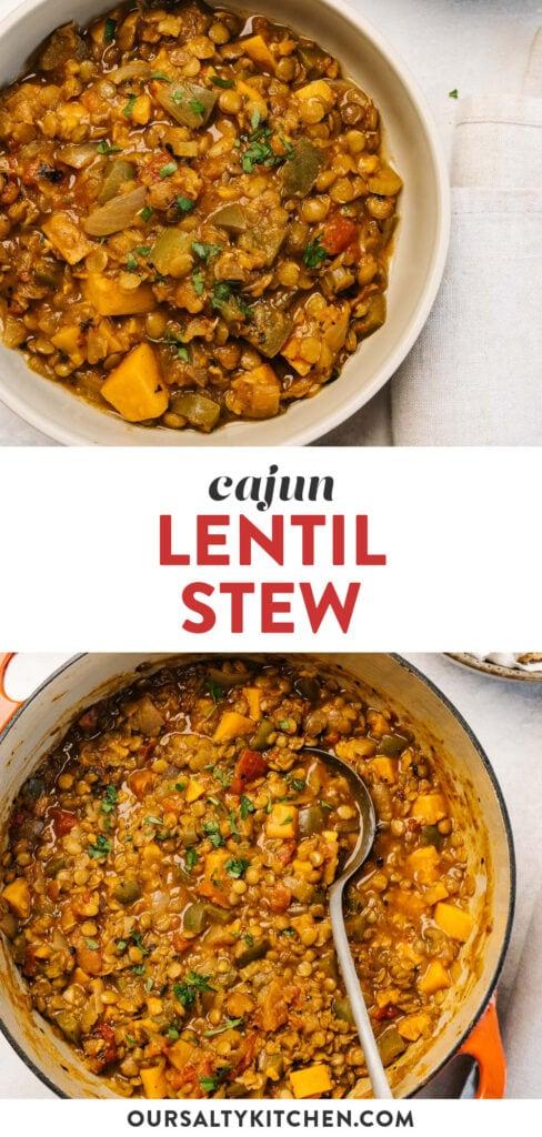 Pinterest collage for a one pot cajun lentil stew recipe.