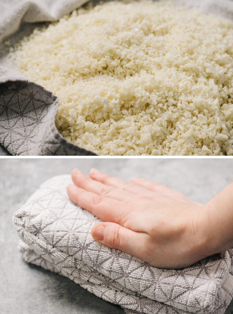 Top - cauliflower rice in a tea towel; bottom - pressing on cauliflower rice wrapped in a tea towel to wring out excess moisture.
