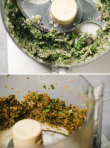 Top - red onion, parsley, and mint pulverized in a food processor; bottom - spices added to onion and herbs.