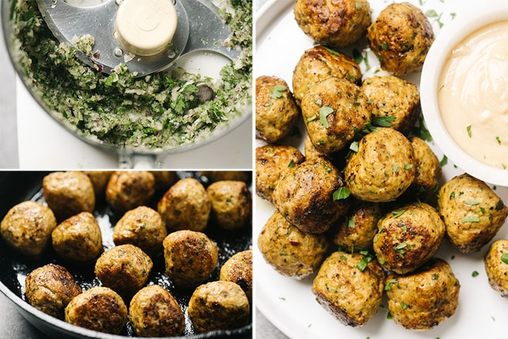 A collage showing the seasoning for shawarma meatballs, browning the meatballs in a pan, and the cooked meatballs on a white plate.