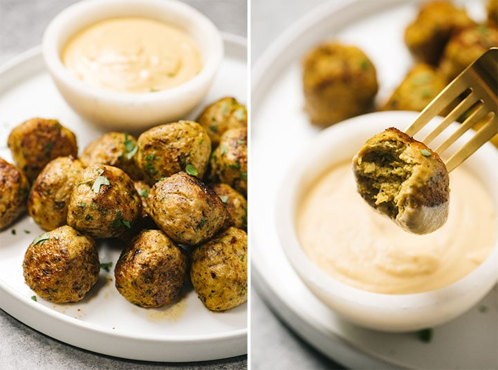 Left - chicken shawarma meatballs on a white platter with tahini dipping sauce; right - dipping a keto chicken meatball in a bowl of sauce.