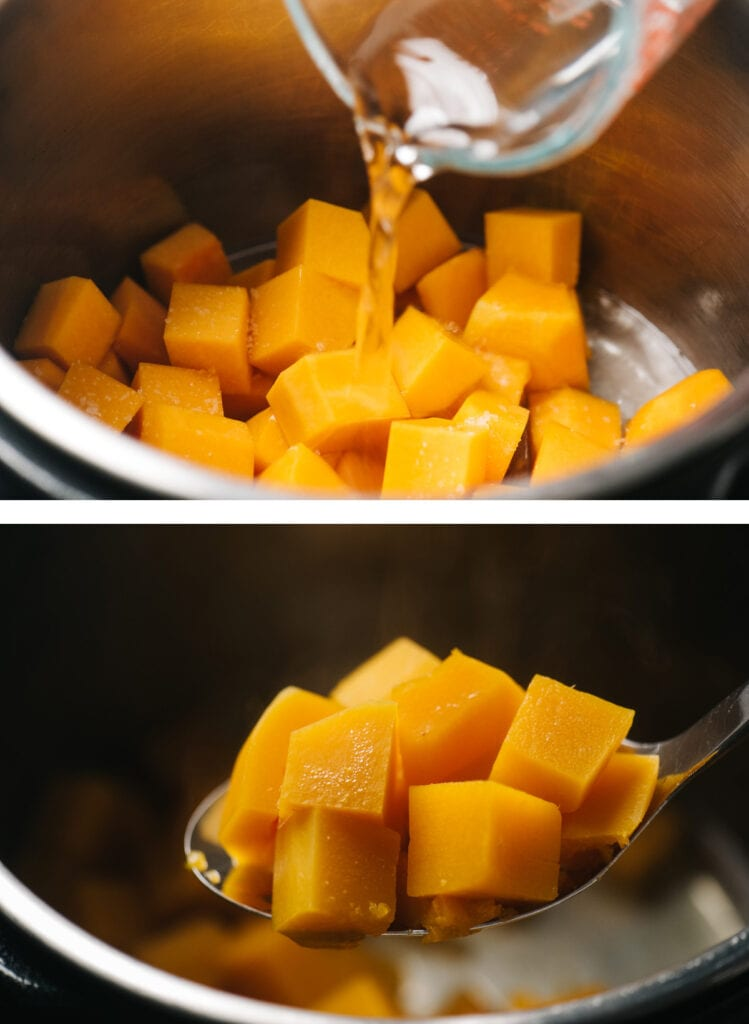 Top - pouring water over butternut squash cubes in an instant pot; bottom - instant pot steamed butternut squash cubes on a slotted spoon.