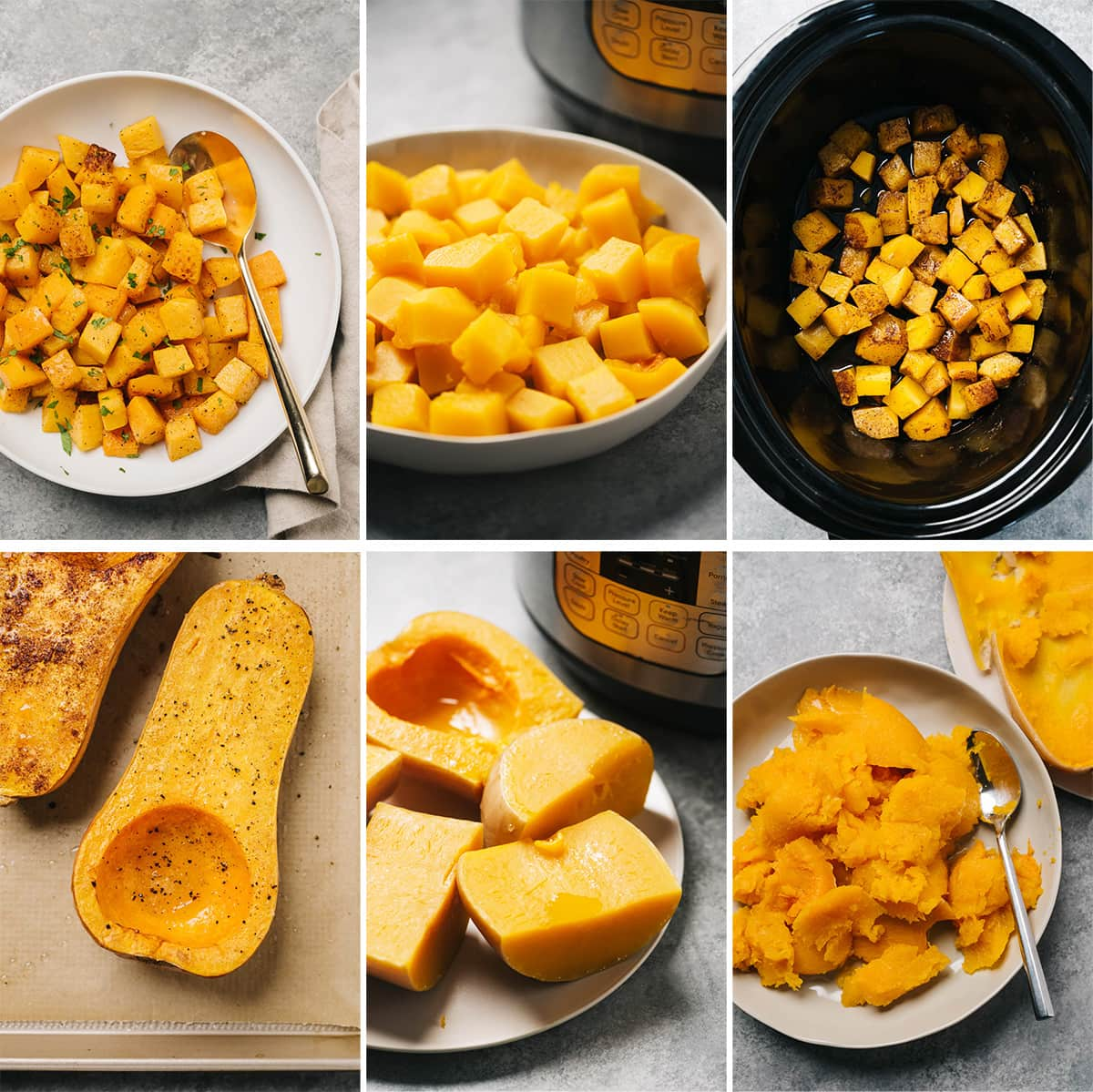 A collage showing six ways to cook butternut squash - roasted, instant pot, slow cooker; diced or halved.