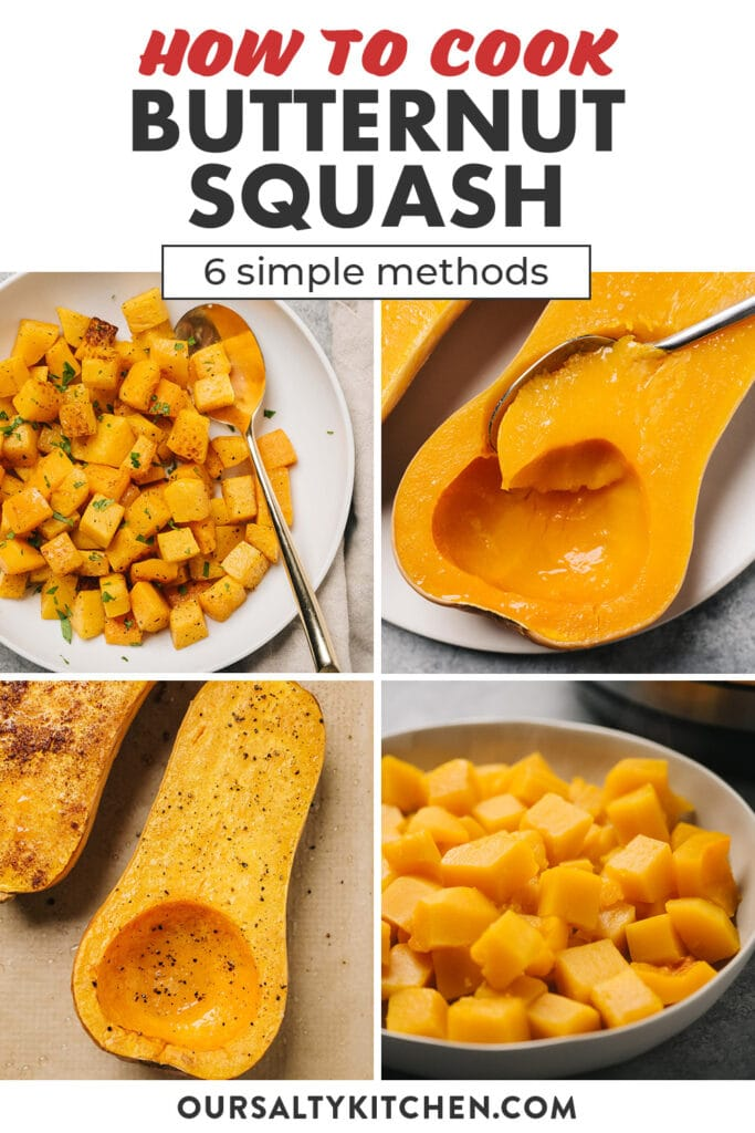 A pinterest collage showing various ways to cook and prepare butternut squash.