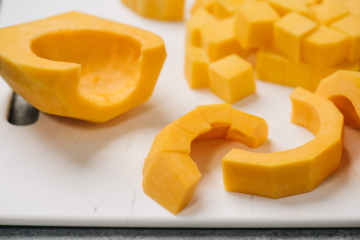 How to diced the hollowed out seed end of a butternut squash.