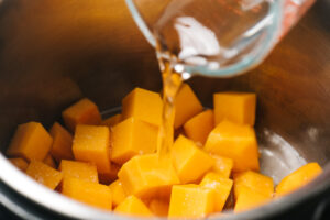 Pour water into an instant pot with diced butternut squash.