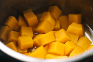 Diced butternut squash steamed in an instant pot.