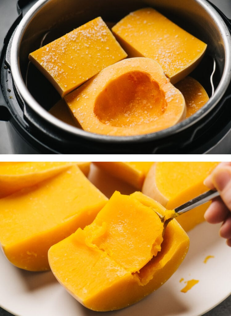 Top - a whole butternut squash cut into fours in and instant pot; bottom - scoop flesh from steamed butternut squash halves.