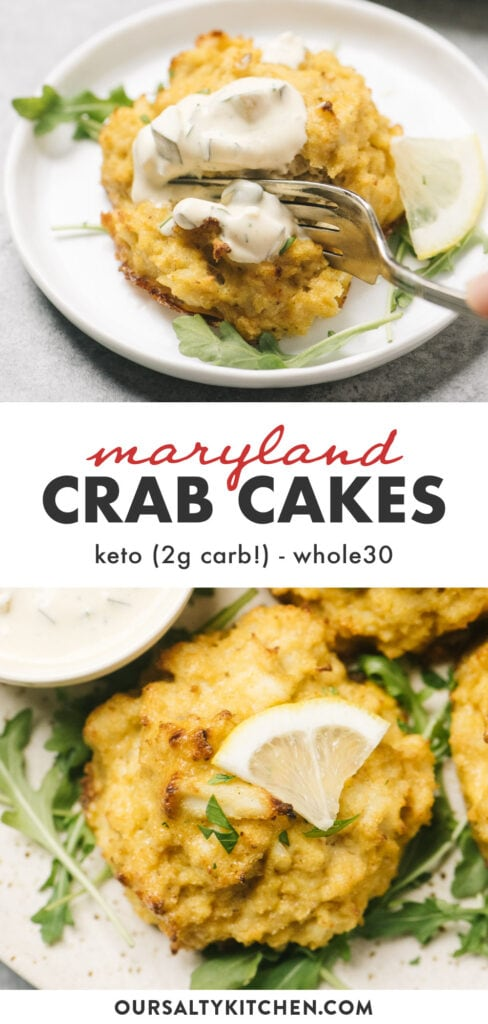Pinterest collage for keto and whole30 crab cakes with low carb tartar sauce.