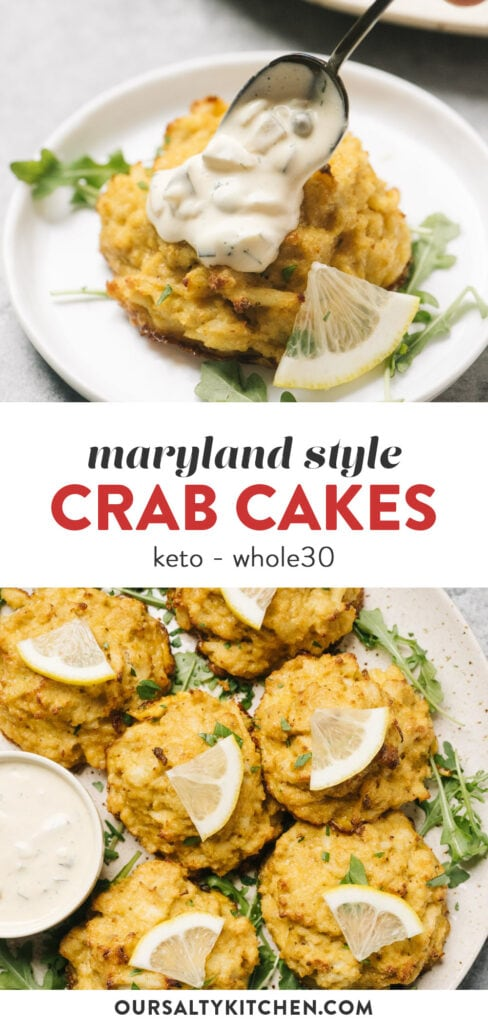 Pinterest collage for maryland style keto crab cakes with homemade tartar sauce.
