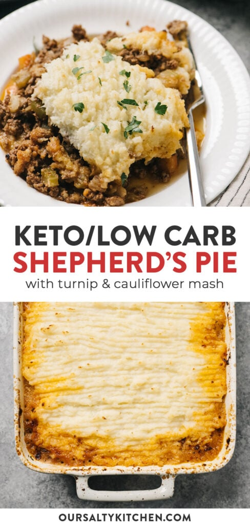Pinterest collage for a low carb shepherd's pie with keto mashed potatoes.