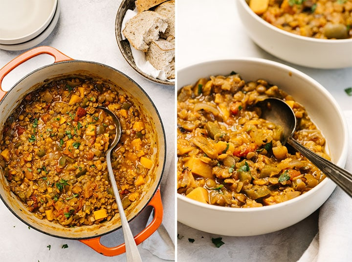 Left - lentil stew in a dutch oven with a metal ladle; right, side view of two bowls of cajun lentil stew on a concrete background.