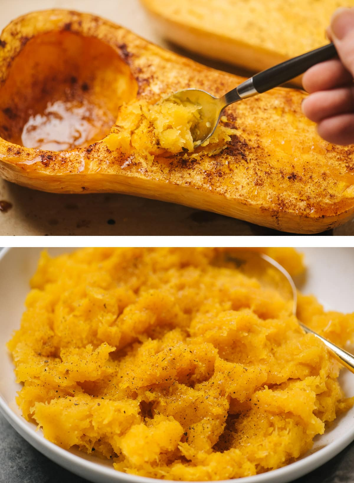 Top - scooping flesh from a roasted butternut squash half; bottom - mashed butternut squash in a white bowl with a gold serving spoon.