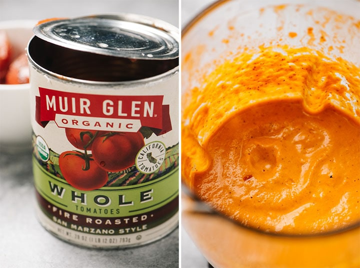 Left - whole canned tomatoes; right - romesco sauce in a blender.