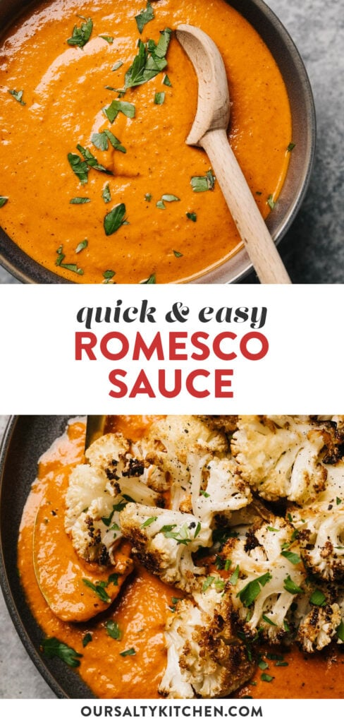 Pinterest collage for a quick and easy romesco sauce recipe.