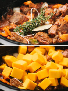 Slow cooker beef stew in a slow cooker with fresh herbs (top) and butternut squash cubes added (bottom).